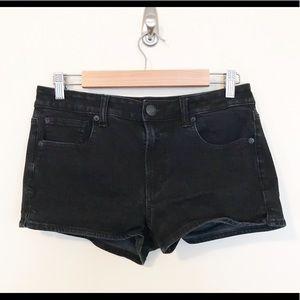American Eagle Black Hi Rise Shortie Jean Shorts 8